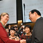 ノーベル平和賞受賞のICANのフィン事務局長を迎え集会。NY以来の再会を喜びあいました。志位「核抑止…