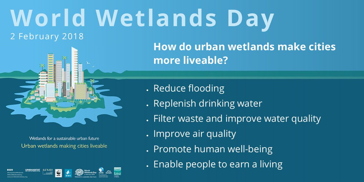 How do #urban #wetlands make #cities more liveable?  They provide these benefits: Reduce flooding Replenish drinking water Filter waste Improve water & air quality Promote human well-being Enable people 2 earn a living  https://t.co/Ni1Wzql4OT #WorldWetlandsDay #KeepUrbanWetlands