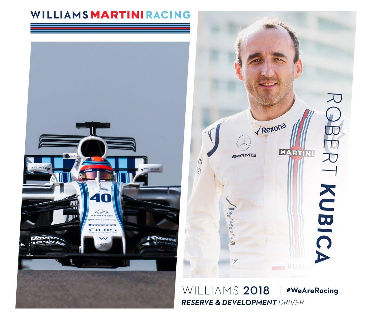 Williams confirma a Robert Kubica como piloto de reserva y desarrollo para 2018
