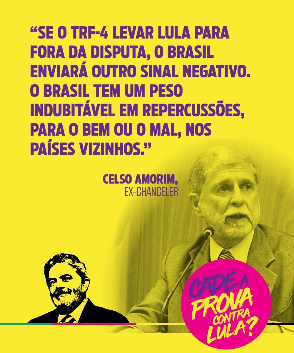 O ex-ministro das Relações Exteriores, Celso Amorim, afirmou que impedir Lula de ser candidato à Presidência é uma forma de agressão à democracia não só no país, mas em toda a América Latina 👉👉 https://t.co/ESbltYXD5Q