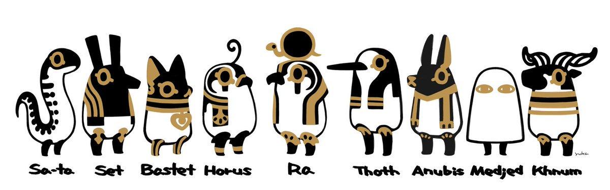 Deuses egípcios, versão fofinha, via @to_to2ni