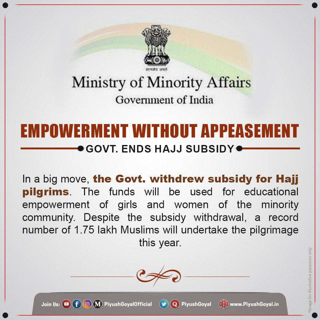Instead of appeasing the minorities, Govt. believes in empowering them and works for their welfare. The decision of withdrawing #Hajj subsidy is a part of Govt's policy to redirect funds for providing quality educational facilities to girls & women of the community.