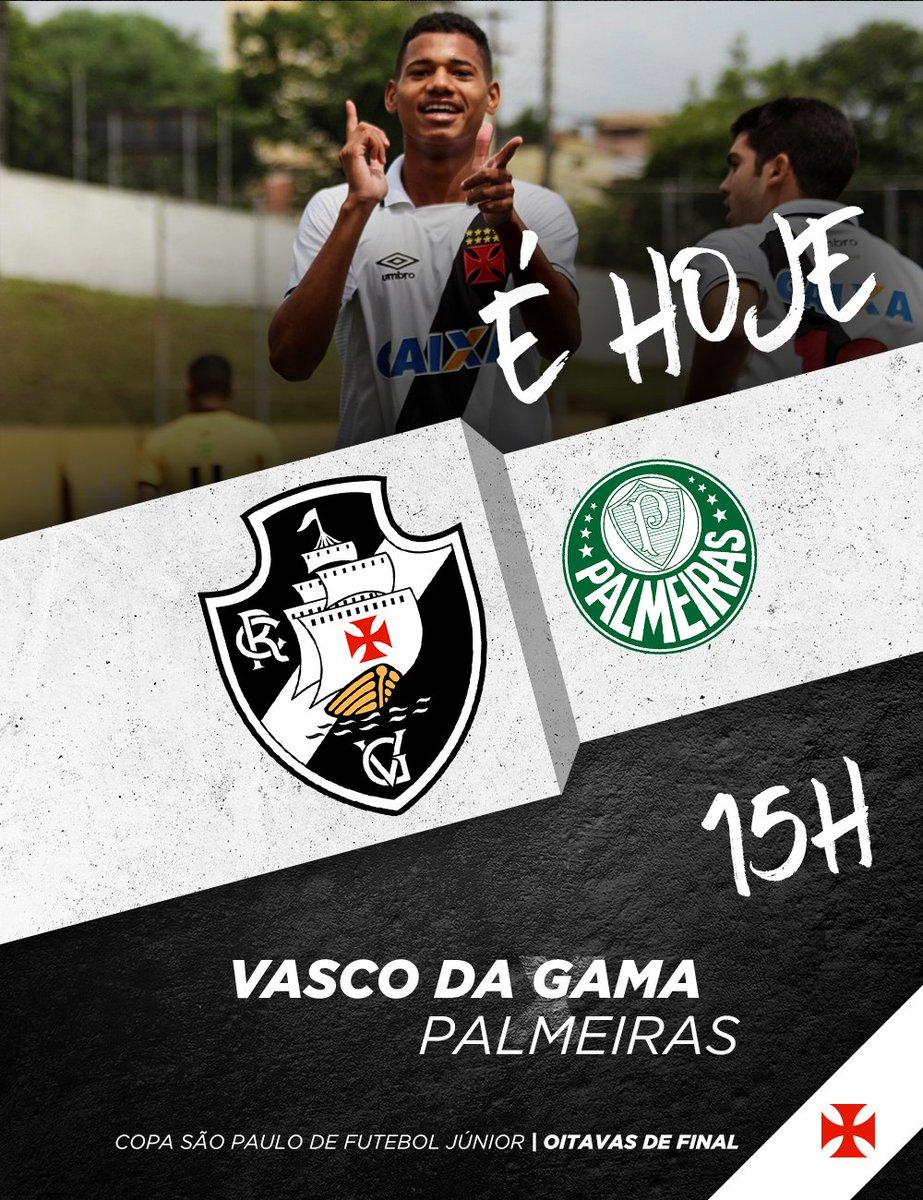 JOGO DECISIVO NA COPINHA! 💢 O Gigante da Colina entra em campo hoje pelas oitava de final da Copa São Paulo, às 15h, contra o Palmeiras.  Acompanhe pelo canal Sportv e torça pelos Meninos da Colina!  #VascoNaCopinha2018