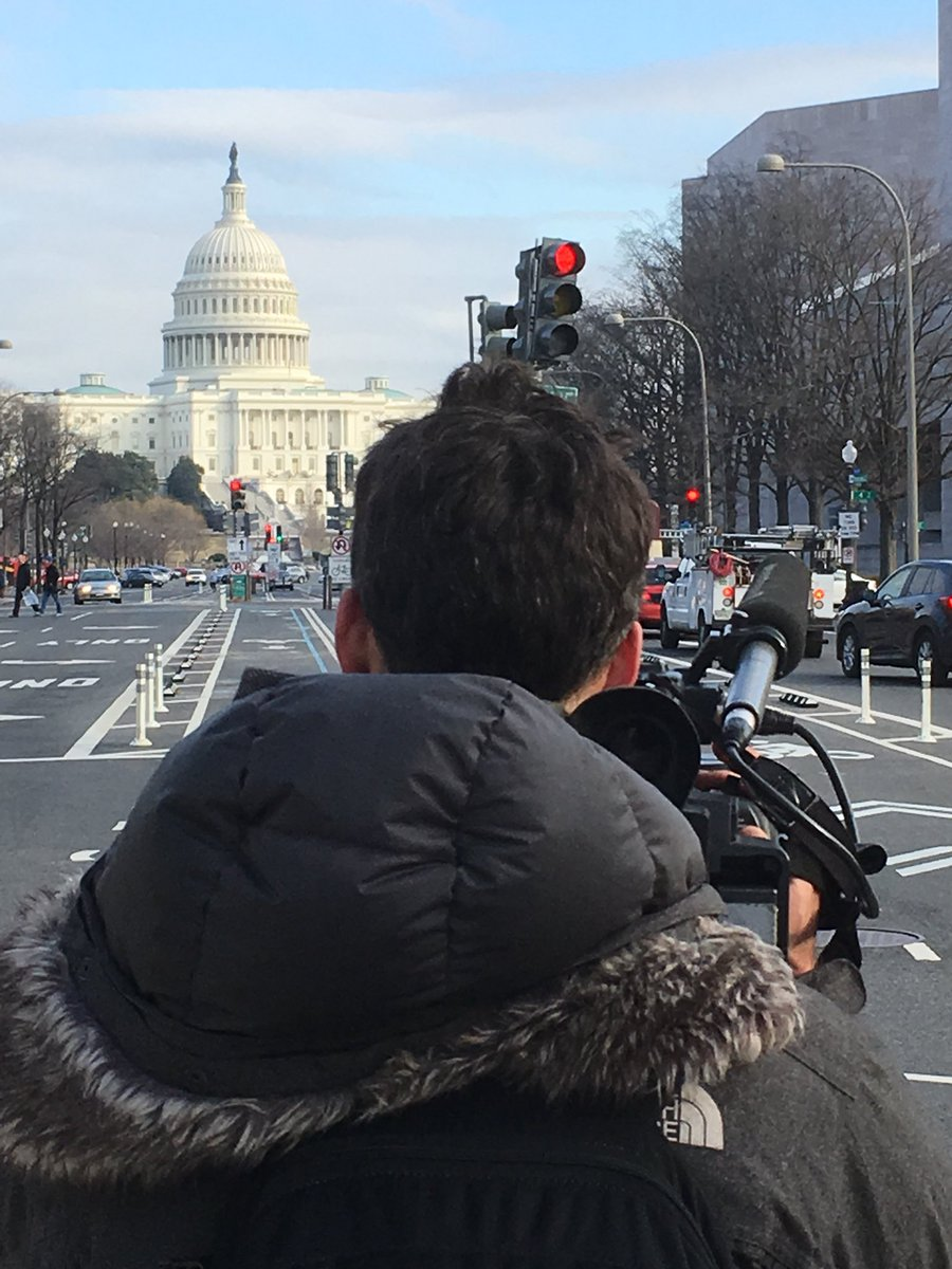 Big day of shooting ahead for @jsauvaget & @france24 team. #Trump #oneyear #anniversary #special