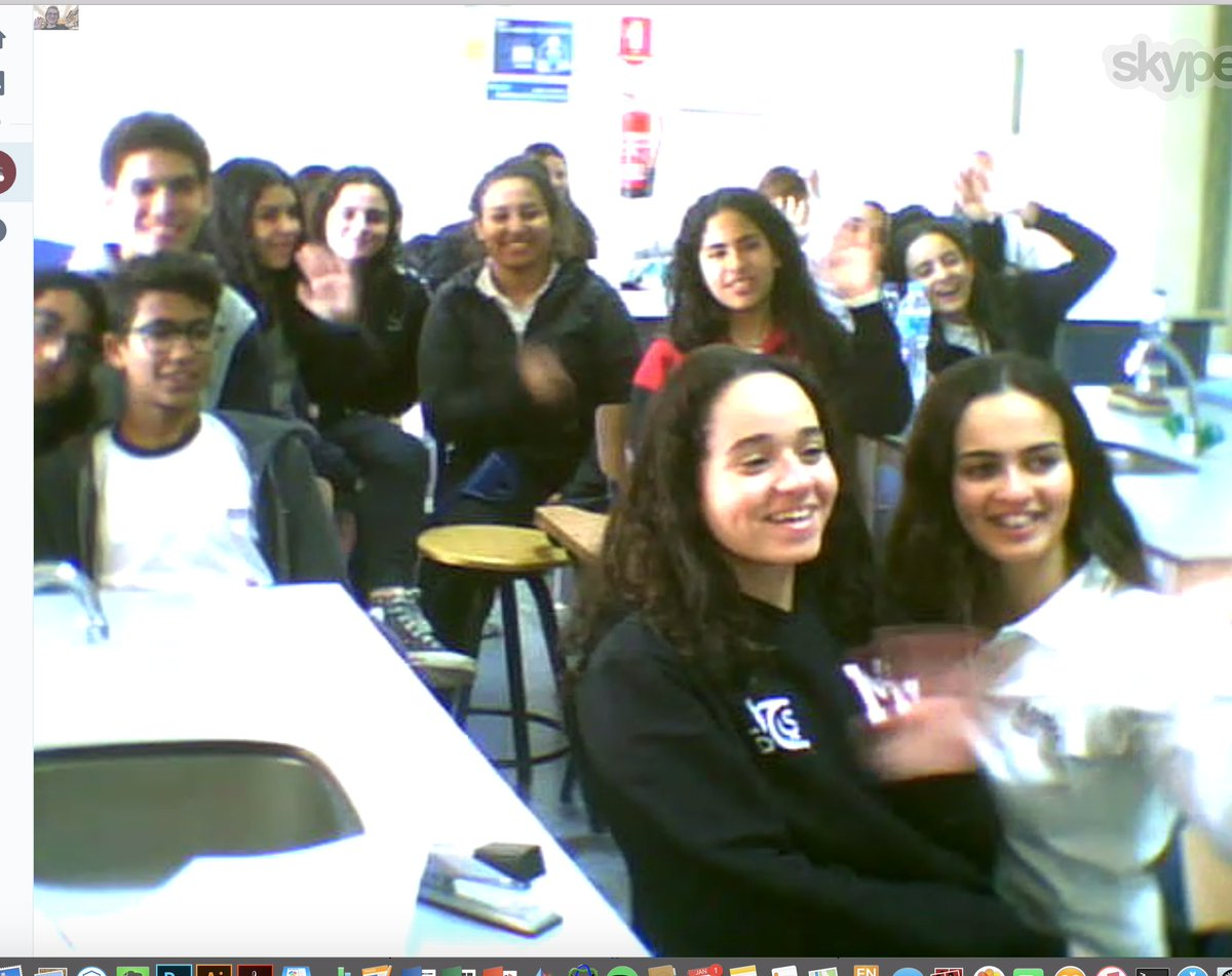 Really enjoyed talking to Ms El Sanhouri&#39;s science class in Cairo, Egypt this morning for #skypeascientist! Here&#39;s a screenshot (shared with permission) of their smiling faces! <br>http://pic.twitter.com/nzhEbgERCV