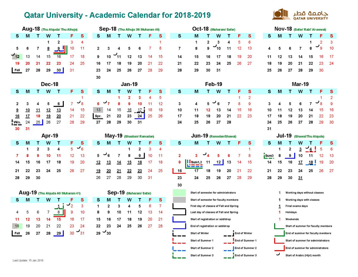 qatar university academic calendar for 2017 2020 all amendments on 2017 2018 2018 2019 and 2019 2020 academic calendars are published online in the