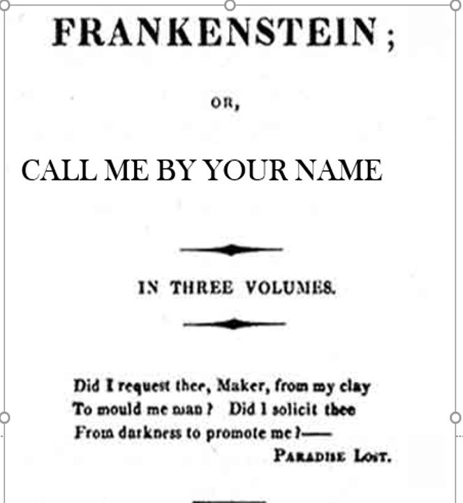 Little known alternative cover page from Frankenstein's 1818 text