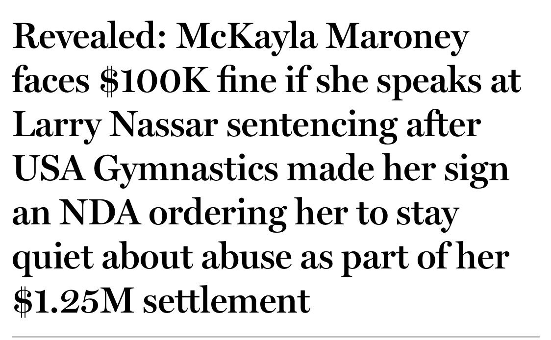 The entire principle of this should be fought - an NDA to stay quiet about this serial monster with over 140 accusers, but I would be absolutely honored to pay this fine for you, McKayla.