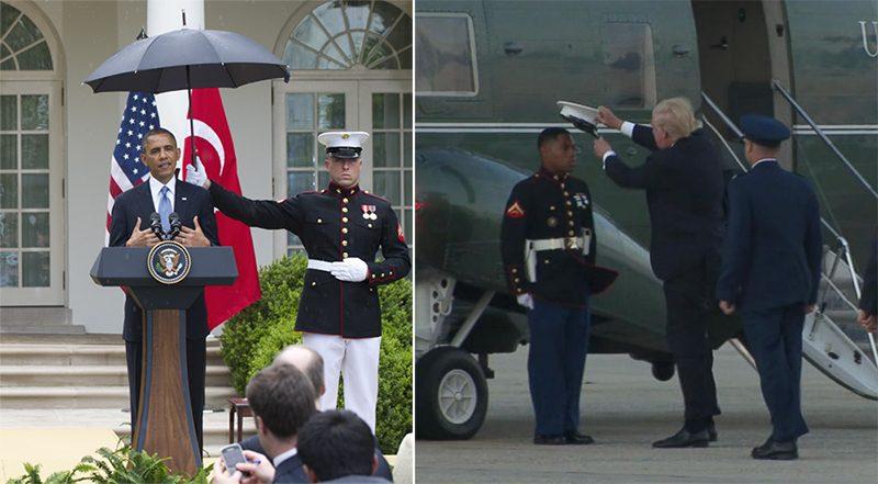 Image result for trump picks up hat for marine