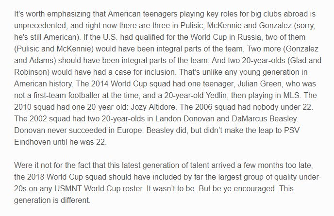 The new generation of #usmnt talent (other than Pulisic) arrived a few months too late, but the young quality in our player pool is unprecedented. <br>http://pic.twitter.com/VJUG31foPO