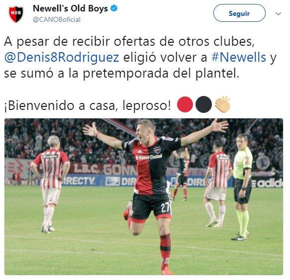 RT @SC_ESPN: Denis Rodríguez, tras su paso por River, eligió regresar al club de sus amores: Newell's. https://t.co/jNIakGDw98