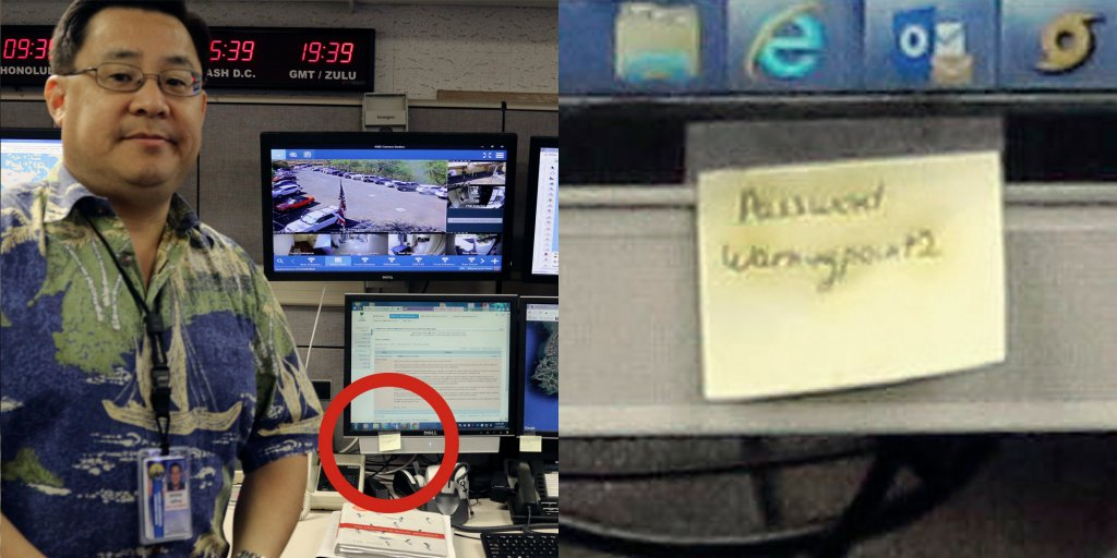 A password for the Hawaii emergency agency was hiding in a public photo, written on a post-it note https://t.co/wq0O9LTcJE