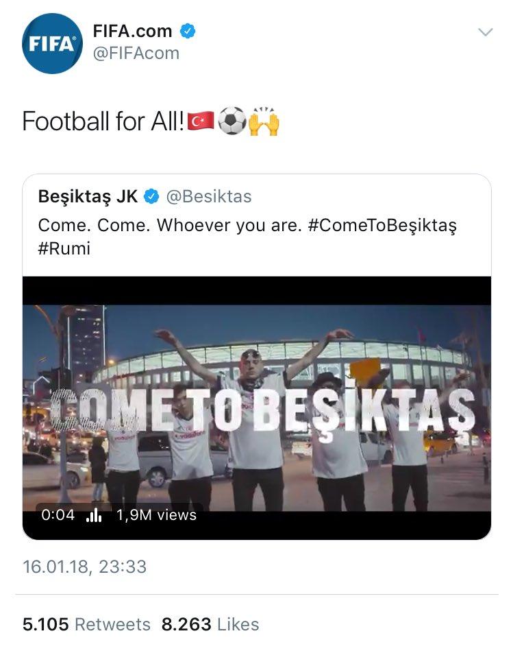 FIFA, Beşiktaş'ın videosuna atıfta bulun...