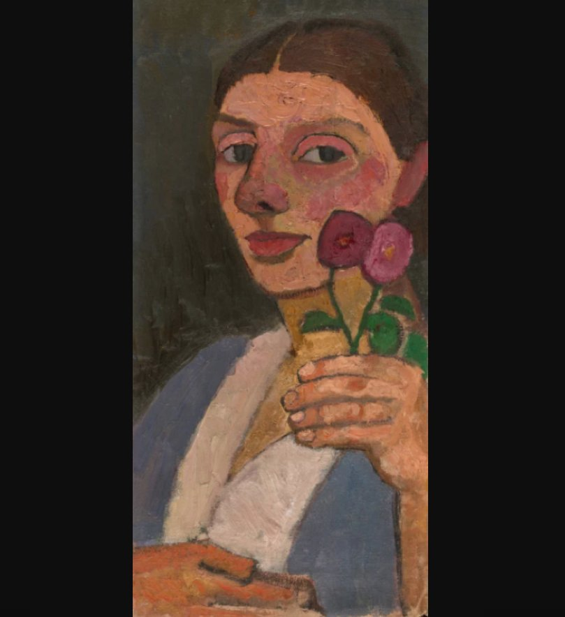 Modersohn-Becker Self-Portrait with Two Flowers