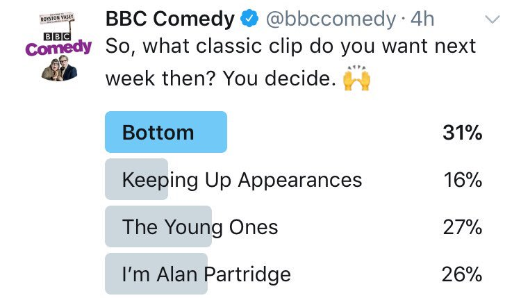 You decided - we're having a bit of Bottom. 😍 https://t.co/wW7usnVsqj