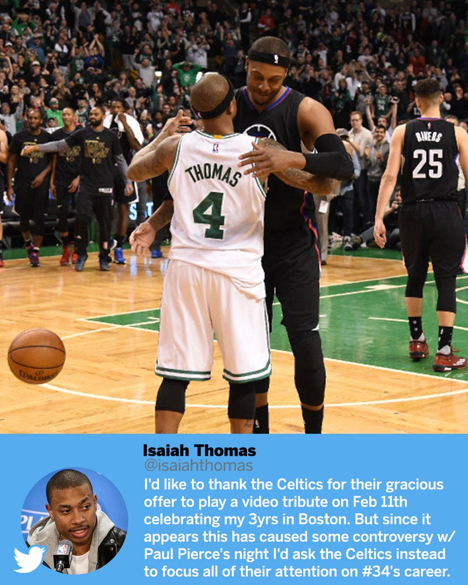 Isaiah Thomas doesn't want to get in the way of Paul Pierce's jersey retirement night.
