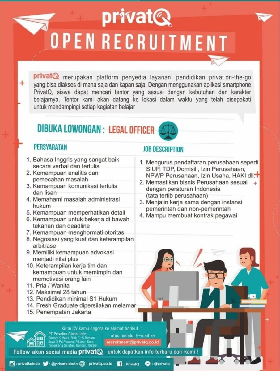 Umy On Twitter Lowongan Kerja Privatq Posisi Legal Officer Https T Co Ppxkbhgqbn Lowkerumy