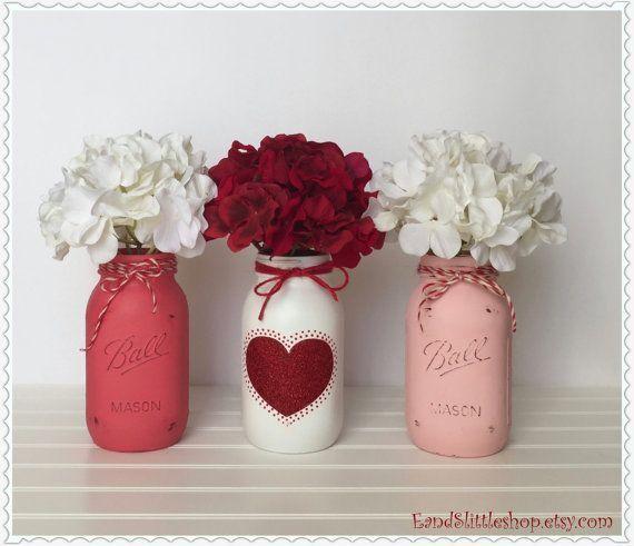 Mason Jar Table Centerpiece set-Valentines Day Decor-Valentine Décor-Wedding Ce… valentinesday2018collection.ml/mason-jar-tabl…