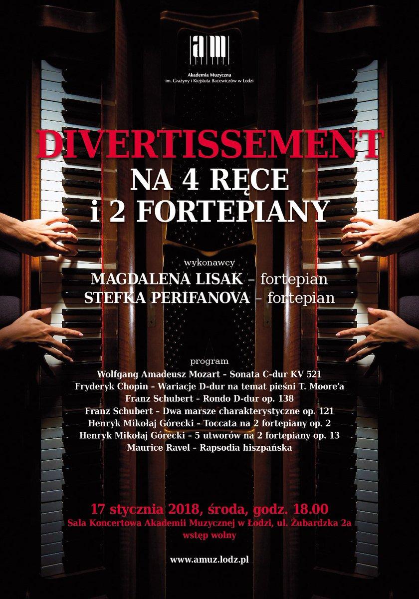 """Dziś o 18.00 @amuzlodz wyjątkowy #koncert """"#Divertissement na 4 ręce i 2 #fortepian-y"""". Wystąpią uznane pianistki: Magdalena #Lisak i Stefka #Perifanova. Zaprezentowane zostaną utwory na #duet fortepianowy takich #kompozytor-ów, jak #Chopin, #Mozart, #Schubert, #Ravel i #Górecki."""
