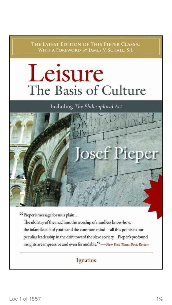 leisure the basis of culture Leisure, the basis of culture is a terrific read in its totality, made all the more relevant by the gallop of time between pieper's era and our own.