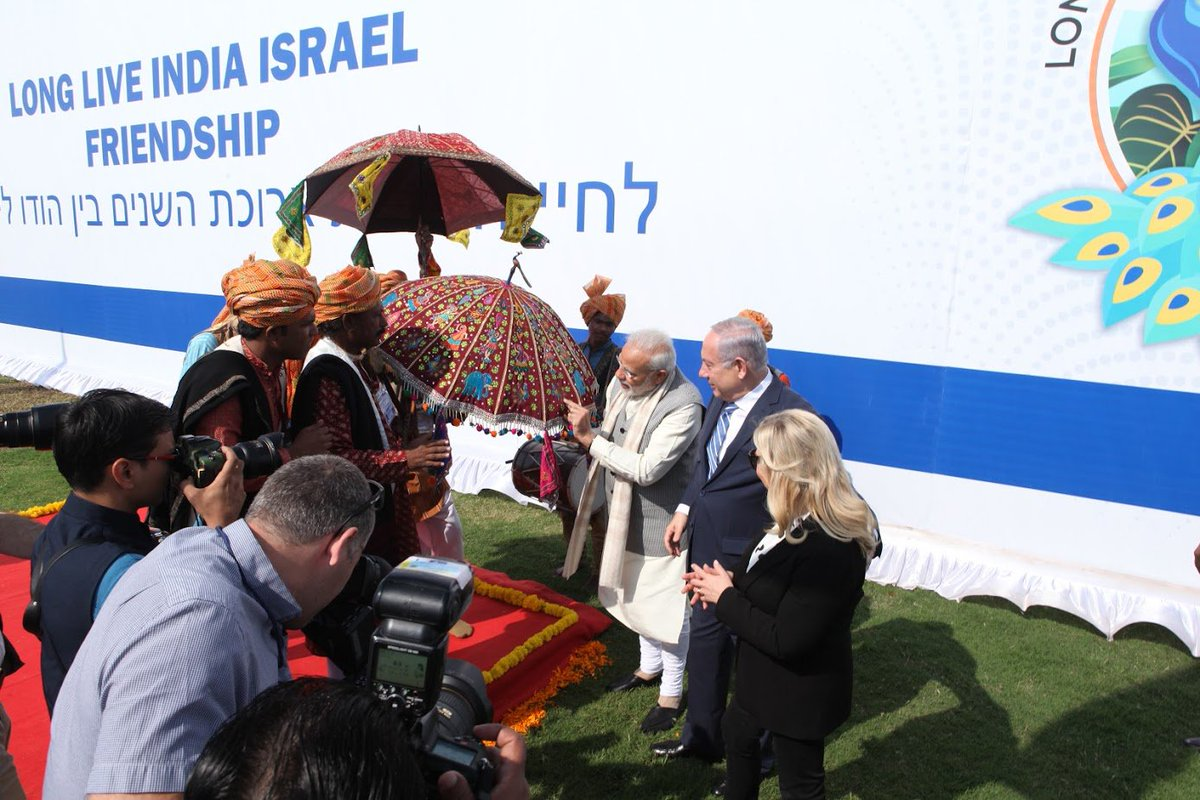 Israeli PM accorded grand and colourful welcome in Gujarat, participates in half and hour 8 km long India Cultural Road Show