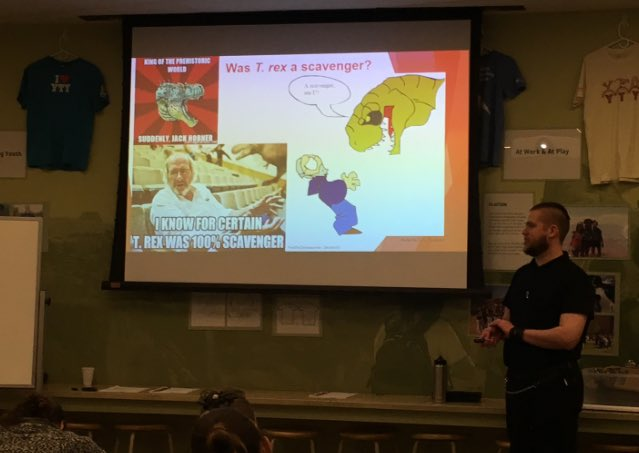 A rare piece of photographic evidence showing a wild Spencer in his natural habitat: here, teaching a dinosaur paleontology class to staff and volunteers @NHMU Also, Jack Horner memes. I had a point. I swear. #dinosaurs #dinosaur #scicomm #science #usofscience #paleontology<br>http://pic.twitter.com/xy1sCw9OiG