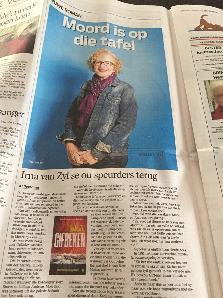"Must be ""komkommertyd"" for @Die_Burger to use @AJOpperman interview with me so big. Thank you!@PenguinBooksSA https://t.co/Exxual89Zo"