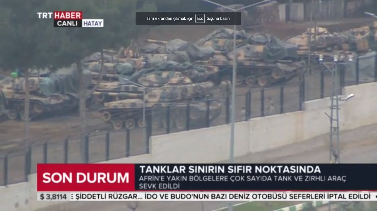 Turkish army deployed several tanks at 4 different locations around Afrin on the Turkish side of the border