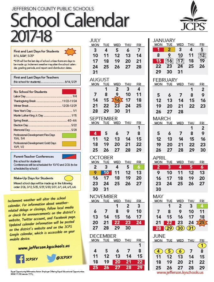 Jcps On Twitter Updated Again Jcpsky Calendar For 2017 18 Year