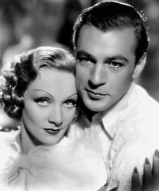 Marlene Dietrich with Gary Cooper in a p...