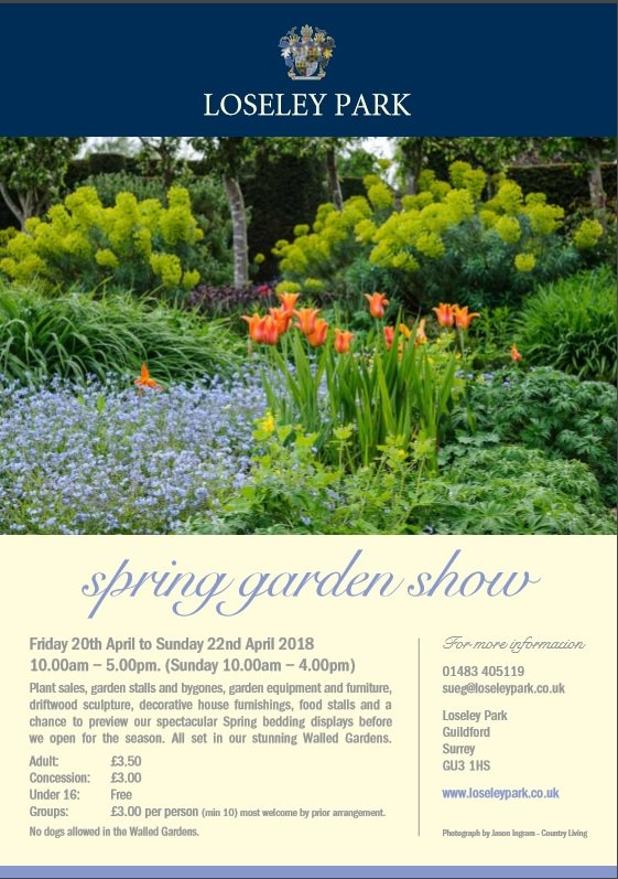 Calling all garden lovers! A date for your diary - our Spring Garden Show Friday 20th April to Sunday 22nd April 10.00am - 5.00pm (Sunday 10.00am - 4.00pm). Set in our beautiful Walled Gardens - plant stalls, garden equipment and furniture plus home furnishings and food stalls.