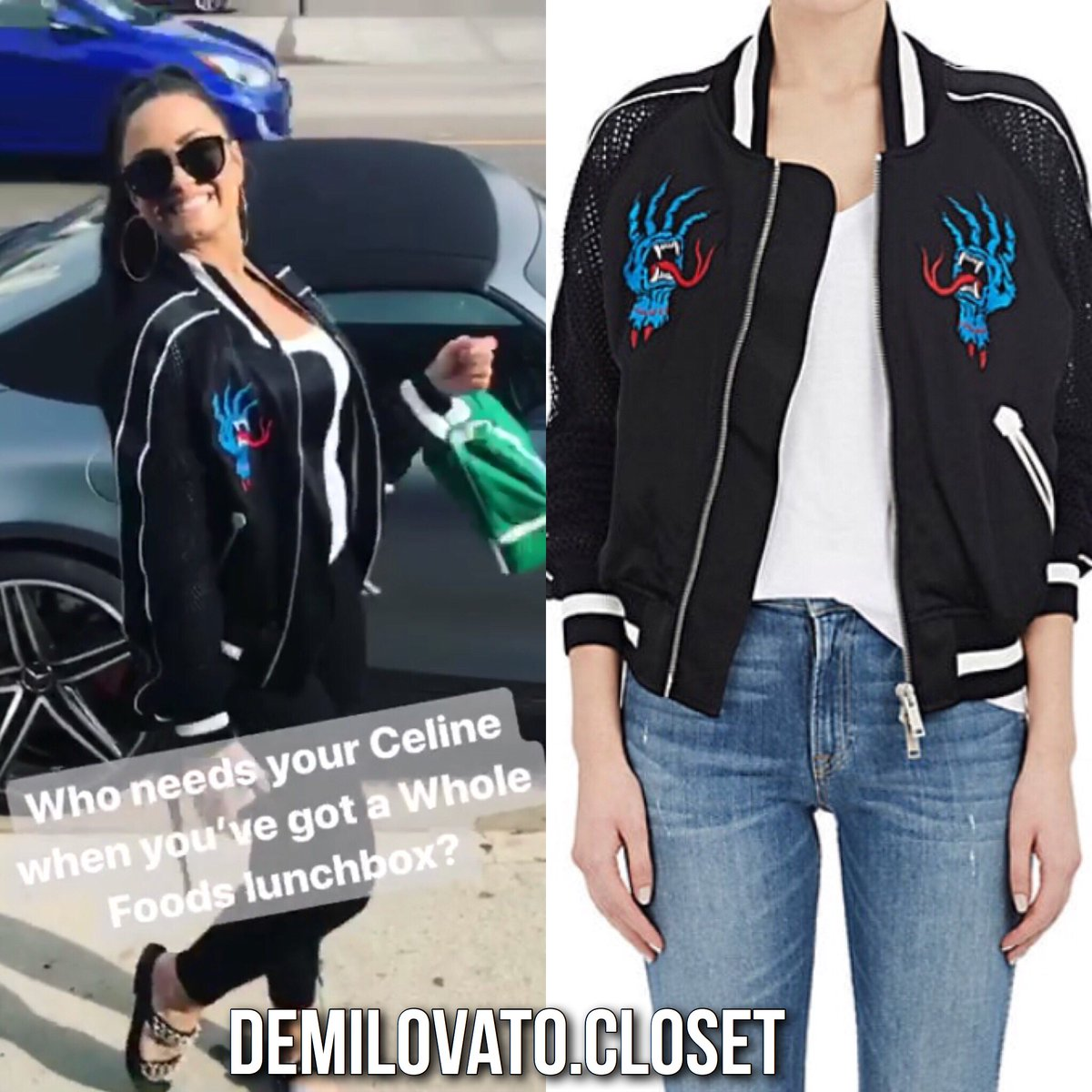Demi Lovato also wore a BEN TAVERNITI UNRAVEL PROJECT Deconstructed Satin & Mesh  Bomber Jacket ($1,775).pic.twitter.com/XGvpmHlhkh
