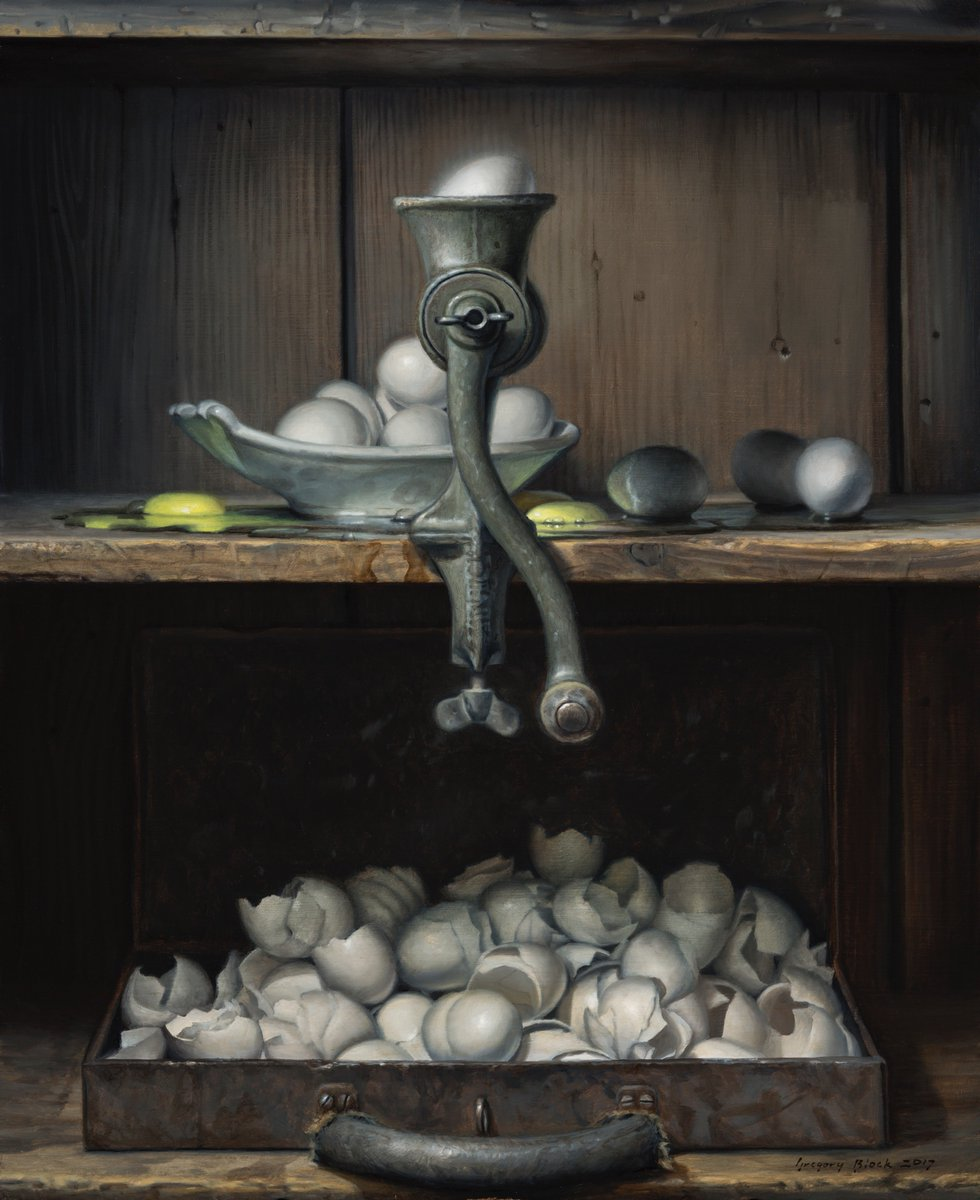 """#SteamboatArtMuseum celebrates the opening of their expanded #museum with: #ANINVITATIONALEXHIBIT: #IMAGININGTHEWEST Works by 40 of the region's foremost #artists inspired by the #culture and #heritageoftheWest #Art """"Yolks & Shells"""" by #GregBlock 22""""x18""""#Oil #steamboatsprings"""