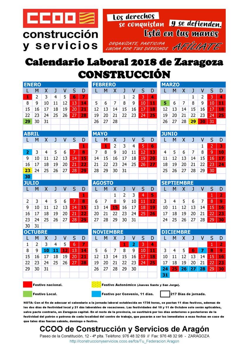 Calendario Laboral De La Construccion.O Xrhsths Ccoo Cs Aragon Sto Twitter Recuerda Que Ya Esta