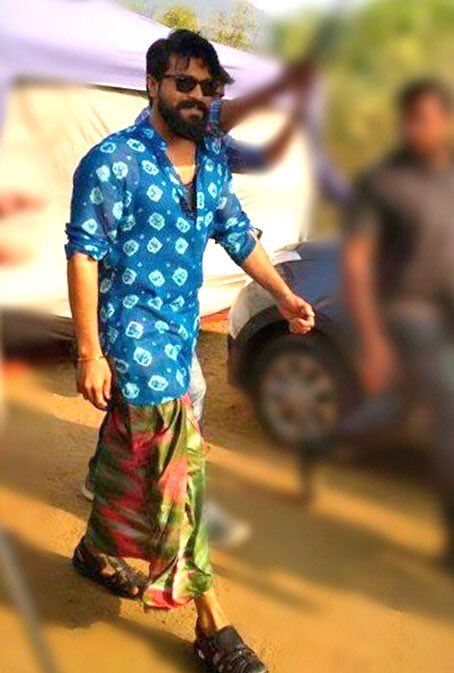 Ram Charan on the sets of #Rangasthalam...
