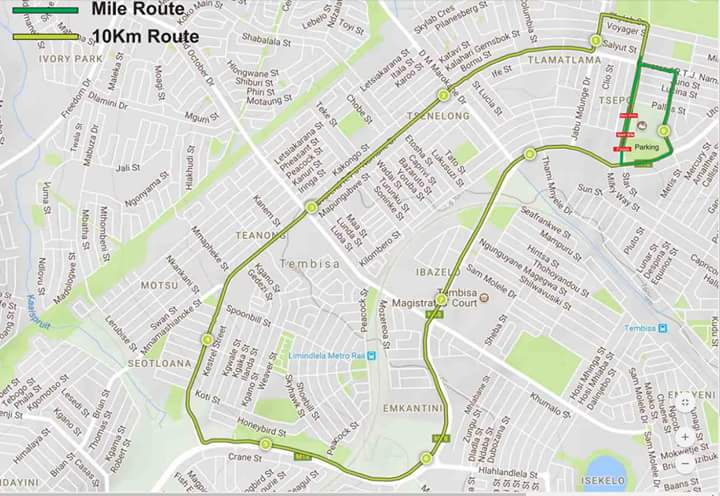 Tembisa Mile on Twitter Route Map Race distances 1 Mile and 10km