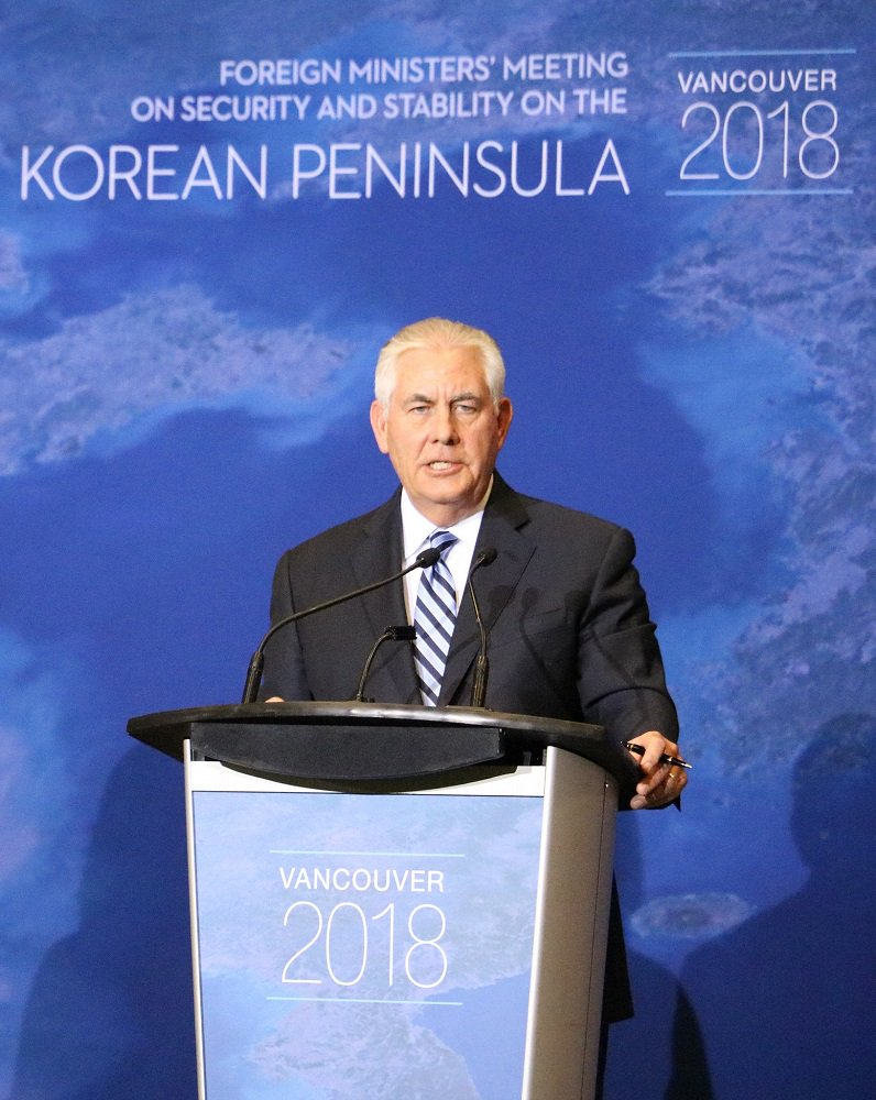 Secretary Tillerson Speaks During a Press Availability after the Vancouver Ministerial on North Korea on January 16.