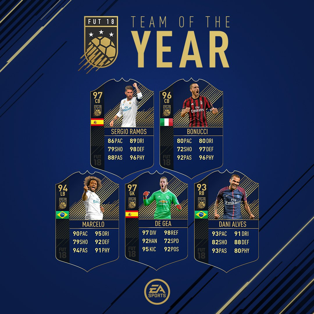 #TOTY De Gea, Marcelo, Sergio Ramos, Bonucci and Dani Alves will be available for 48 hours, starting at 6pm UK! TOTY Midfielders will be out of packs from 6pm UK.