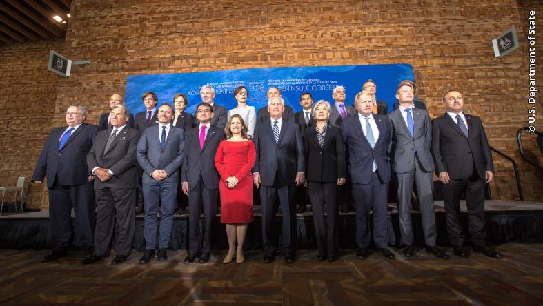 Secretary Tillerson poses for a family photo with his counterparts at the Vancouver Foreign Ministers' Meeting on Security and Stability on the Korean Peninsula in Vancouver, Canada, on January 17, 2018.