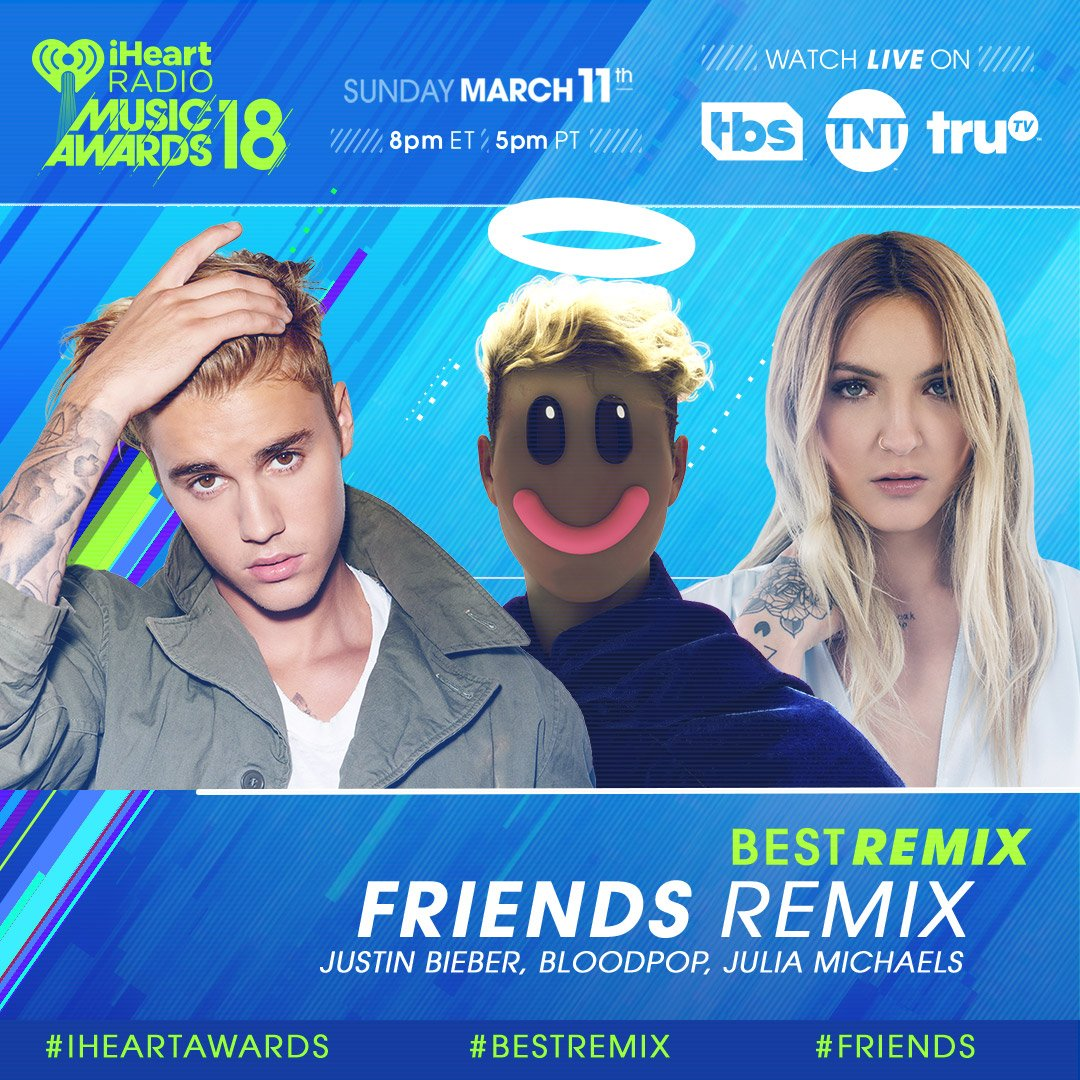 RT to vote for #Friends for #BestRemix! 💿 #iHeartAwards  Let's go @justinbieber, @bloodpop, + @imjmichaels https://t.co/Ul1Yvmwa2d
