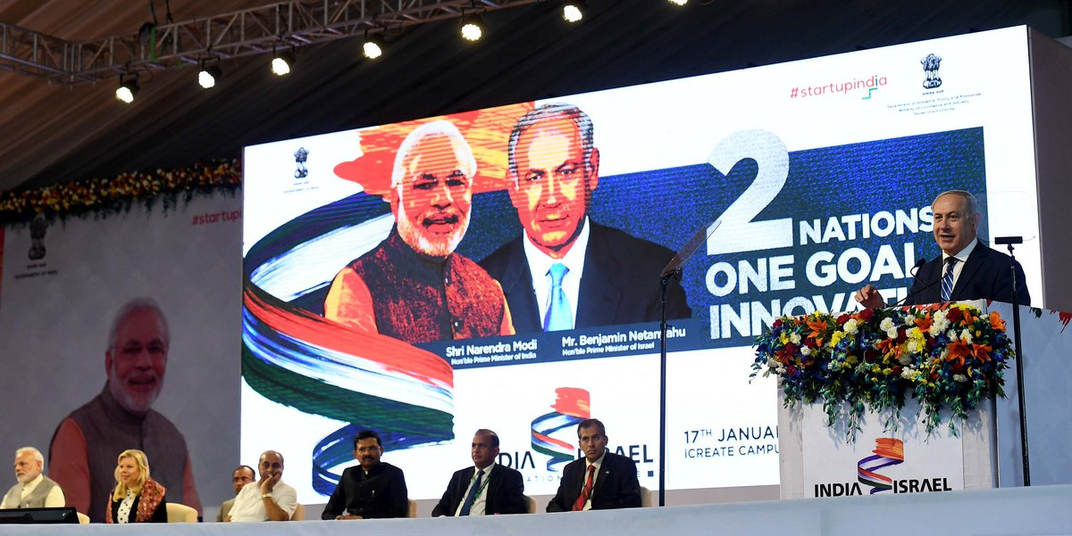 PM @narendramodi invited us to the opening of the iCreate Centre for Entrepreneurship & Technology, a collaborative program of Israeli startups and Indian partners. We met with Indian & Israeli entrepreneurs. This is what the new era in relations between 🇮🇱 & 🇮🇳 looks like.