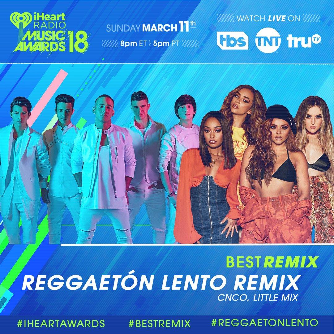 RT to vote for #ReggaetonLento for #BestRemix! 💿 #iHeartAwards  Let's go @CNCOmusic + @LittleMix!