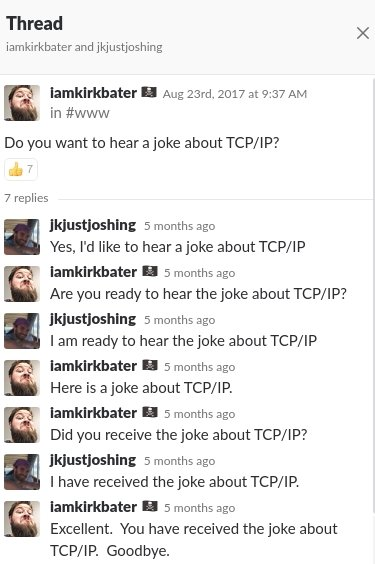 RT @KirkBater: This image is a TCP/IP Joke.  This tweet is a UDP joke.  I don't care if you get it. https://t.co/GLy8QadqOC