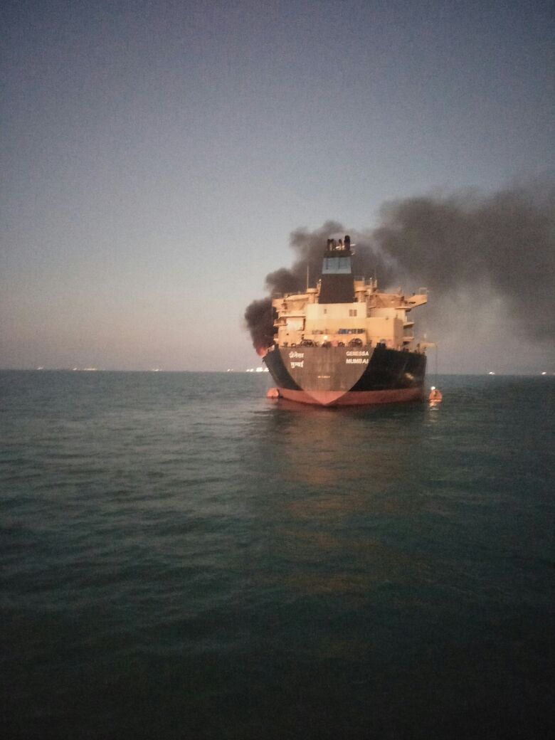 Major fire in oil tanker anchored off Kandla Port, one dead