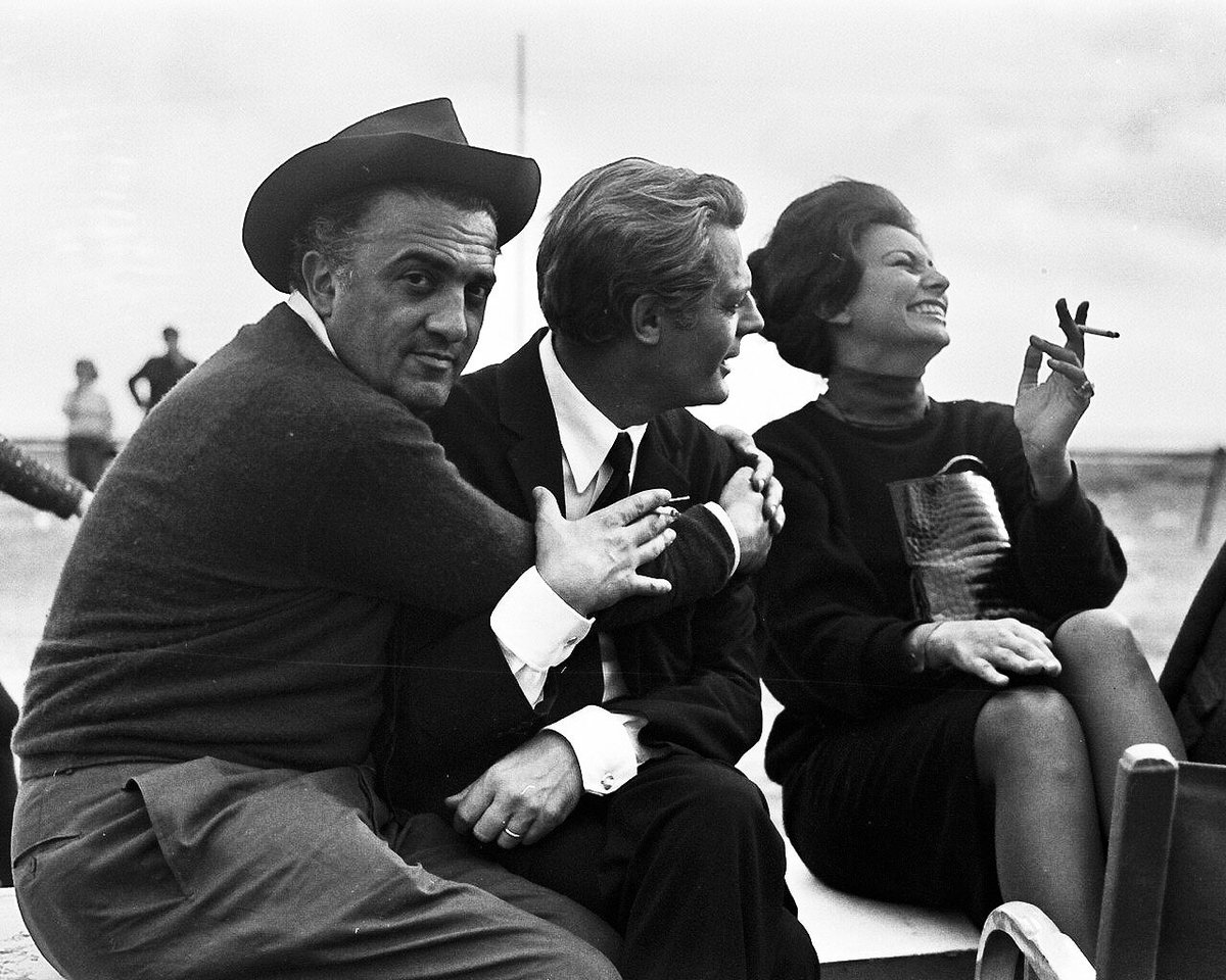 Great photo of Federico Fellini, Marcell...