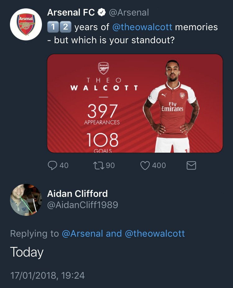 RT @SportsJOE_UK: A sad day for Arsenal supporters, as Theo Walcott completed his move to Everton. https://t.co/x3XIrghnJx