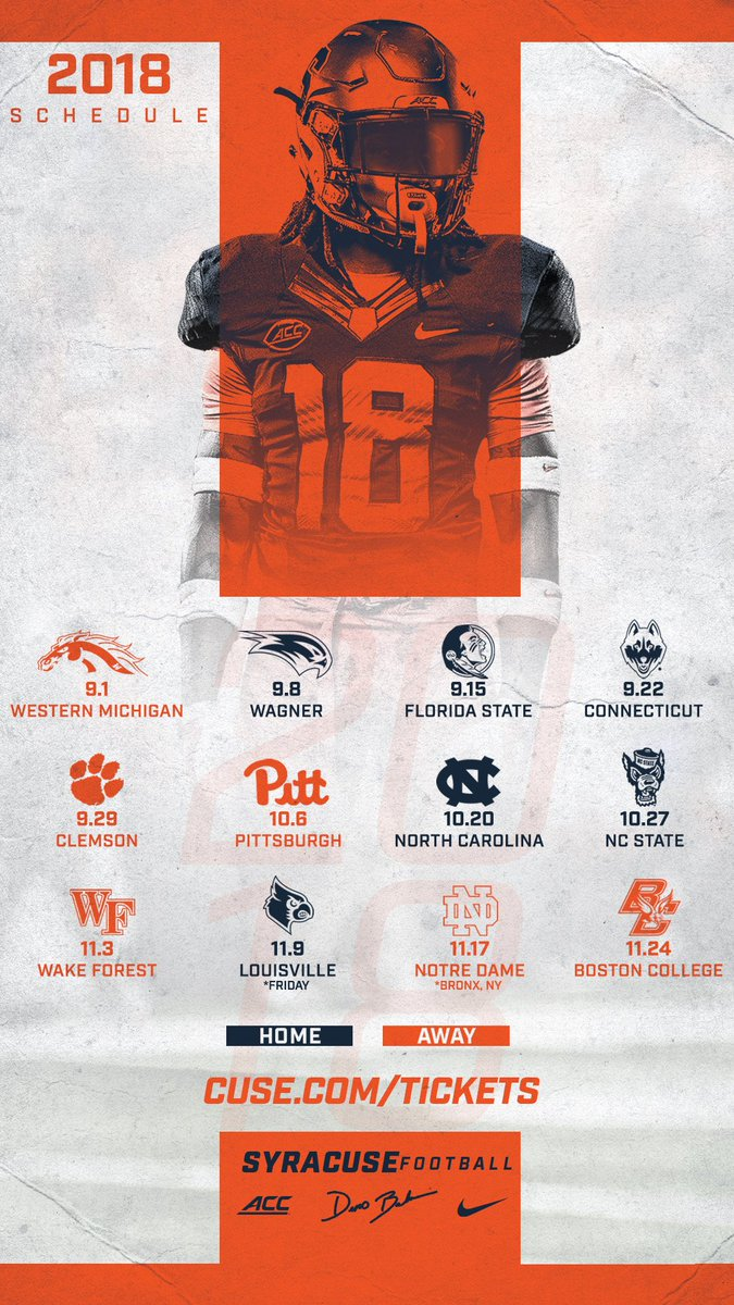 """Syracuse Football on Twitter: """"📱 Phone wallpaper with our 2018 schedule… """""""