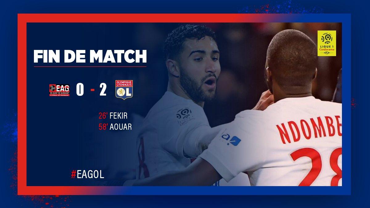 Belle victoire (0-2) des Lyonnais qui ont fait preuve d'une grande maîtrise sur la pelouse de l'EA Guingamp.  La #teamOL est 2e au classement de la @Ligue1 👊🔴🔵  #EAGOL
