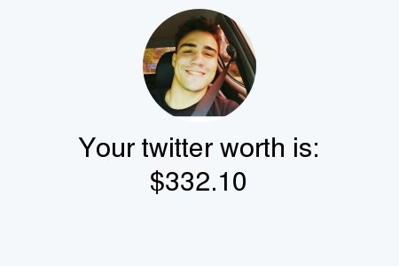 My Twitter worth is: $332.10  Find yours...