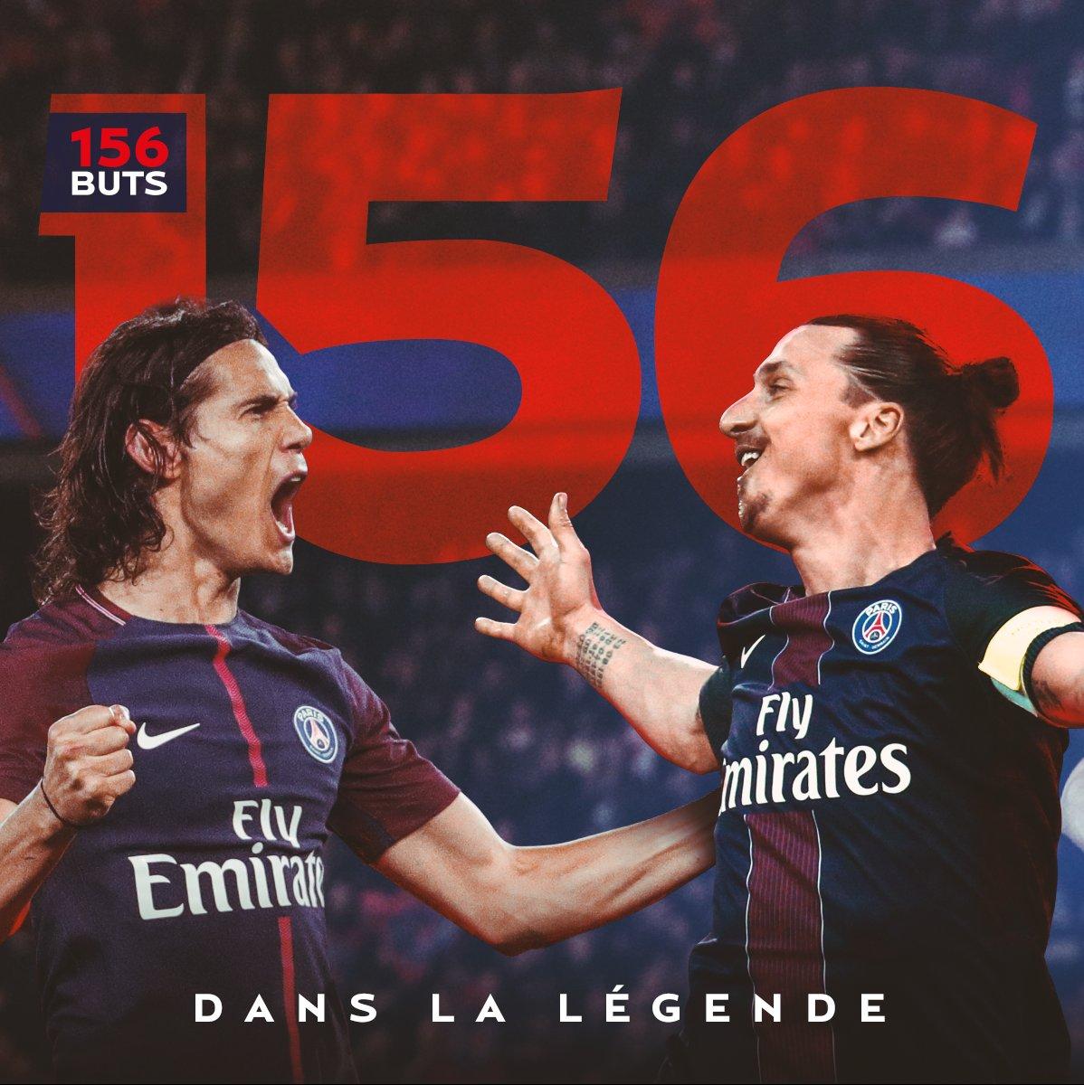 🚨 Il l'a fait ! @ECavaniOfficial vient d'égaler le record établi par @Ibra_official en marquant son 1⃣5⃣6⃣e but avec le Paris Saint-Germain ! 👏